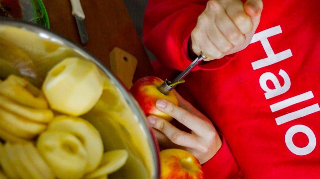 Twee handen met appels ervoor en op de achtergrond een rode trui met Hallo erop