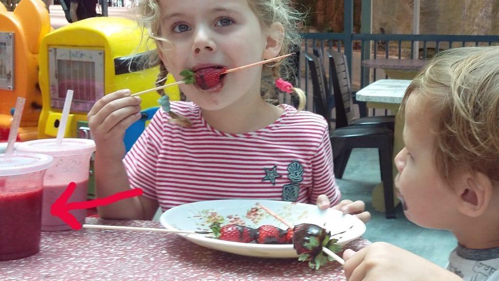 Koters eten aardbeien