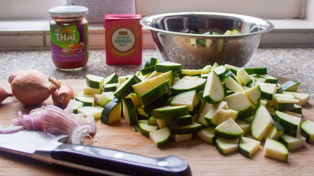 mise en place thai zucchini soup