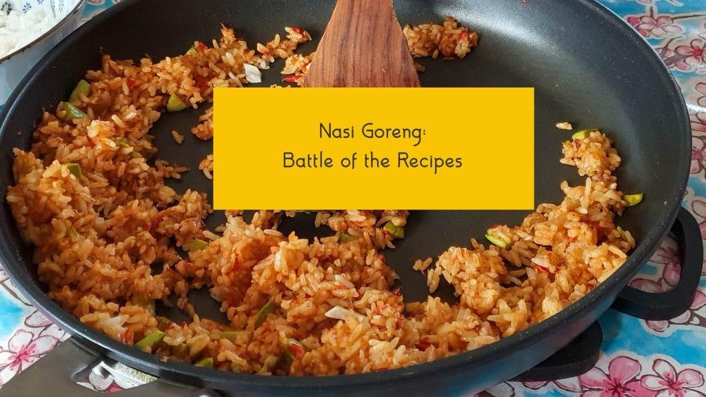 Pan met gebakken rijst en tekstbalk met de woorden Nasi Goreng Battle of the Recipes