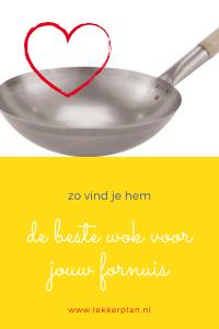 Foto van een wok met een rood hartje erboven en eronder een geel tekstvlak met de woorden de beste wok zo vind je hem