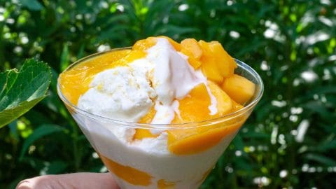 Glas met zacht wit ijs en oranje stukjes mango tegen achtergrond van blaadjes