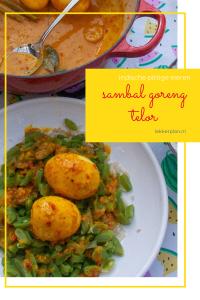 wit bord met hele eieren in gele saus op snijbonen. Erboven de woorden sambal goreng telor indische pittige eieren.