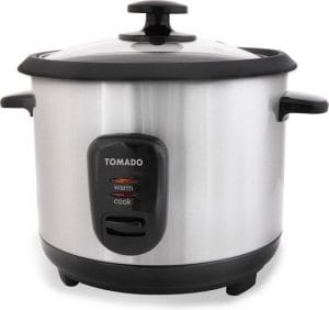 Tomado rijstkoker: ronde rijstkoker met zilveren behuizing, een glazen deksel en zwarte details.l