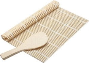 Bamboe sushimat en rijstschep